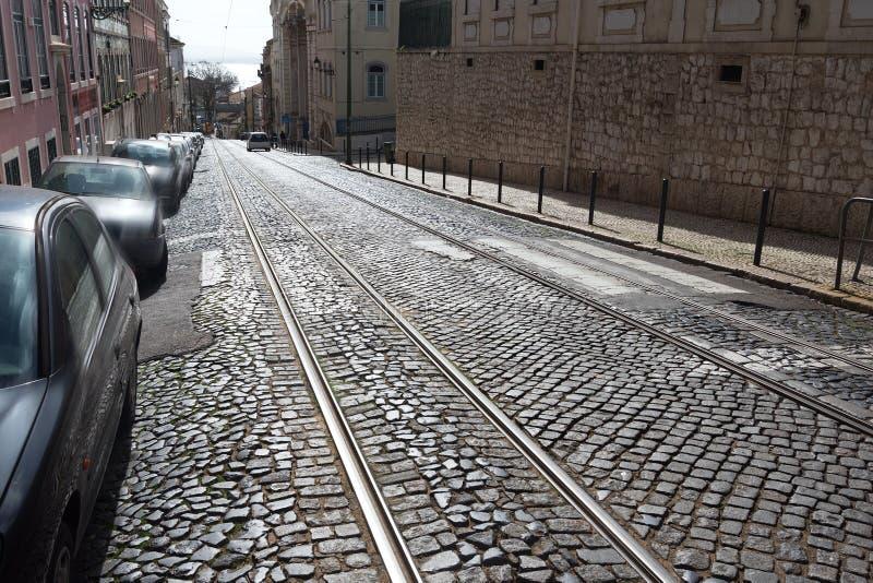 Ράγες τραμ στη Λισσαβώνα, Πορτογαλία στοκ φωτογραφία με δικαίωμα ελεύθερης χρήσης