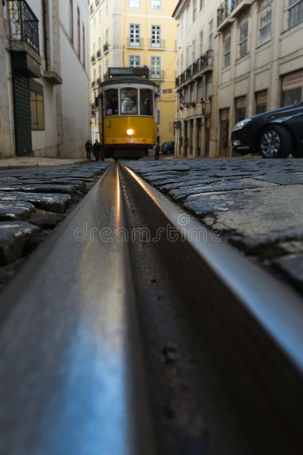 Ράγες τραμ στη Λισσαβώνα, Πορτογαλία στοκ εικόνες