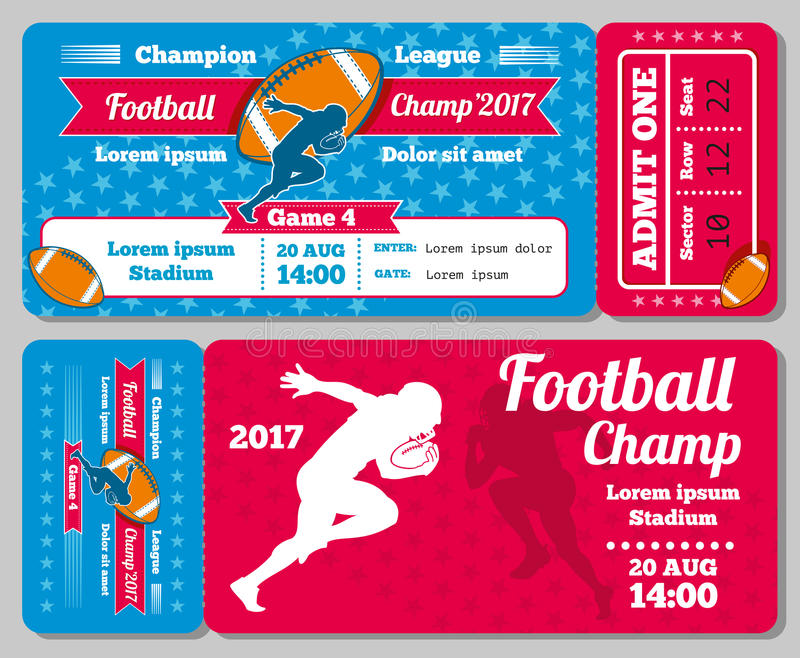 Ράγκμπι, διανυσματικό αναδρομικό σχέδιο καρτών αθλητικών εισιτηρίων ποδοσφαίρου διανυσματική απεικόνιση