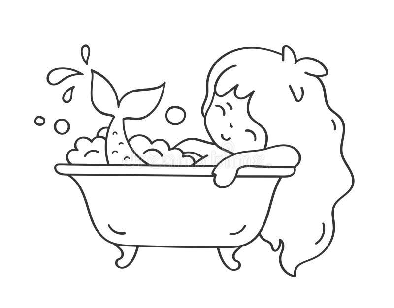 Ράντισμα γοργόνων στο λουτρό Χαριτωμένος χαρακτήρας κινουμένων σχεδίων για το emoji, αυτοκόλλητη ετικέττα, καρφίτσα, μπάλωμα, δια διανυσματική απεικόνιση