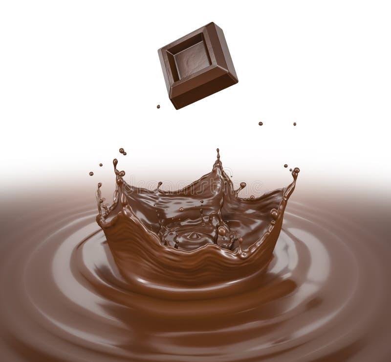 Ράντισμα κύβων σοκολάτας σε μια υγρή λίμνη σοκολάτας με τον παφλασμό κορωνών ελεύθερη απεικόνιση δικαιώματος