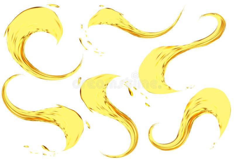 Ράντισμα πετρελαίου που απομονώνεται στο άσπρο υπόβαθρο Διανυσματικό τρισδιάστατο σύνολο απεικόνισης Ρεαλιστικό κίτρινο υγρό με τ απεικόνιση αποθεμάτων