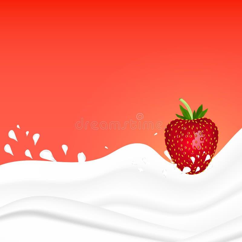 Ράντισμα φραουλών στο γάλα σε ένα ρόδινο υπόβαθρο Καρπός και γιαούρτι ballons απεικόνιση ρεαλιστική διανυσματική απεικόνιση
