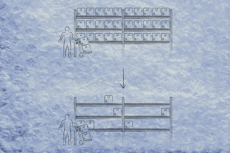 Ράφια αποθηκών εμπορευμάτων από το σύνολο σε ημι-κενό με τον υπάλληλο και το κάρρο διανυσματική απεικόνιση