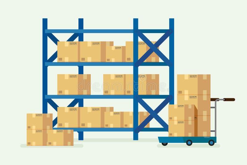 Ράφια και κουτιά από χαρτόνι αποθηκών εμπορευμάτων διάνυσμα απεικόνισης διανυσματική απεικόνιση