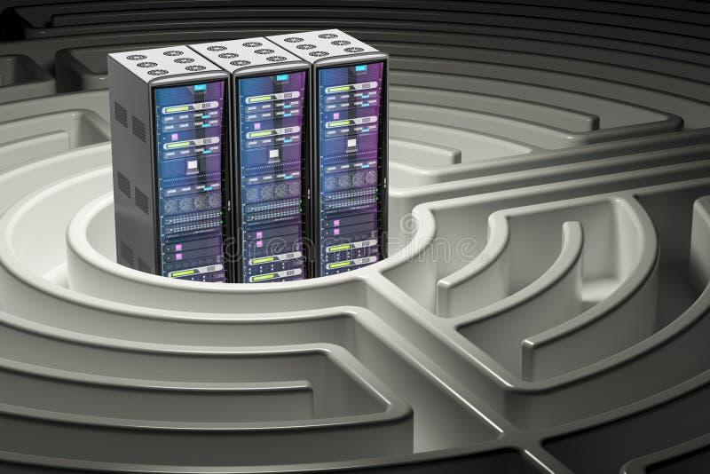 Ράφια κεντρικών υπολογιστών υπολογιστών μέσα στο λαβύρινθο λαβύρινθων, τρισδιάστατη απόδοση ελεύθερη απεικόνιση δικαιώματος