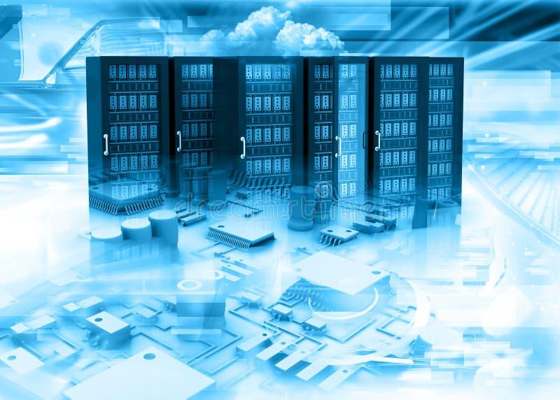 Ράφια κεντρικών υπολογιστών στο αφηρημένο υπόβαθρο τεχνολογίας διανυσματική απεικόνιση