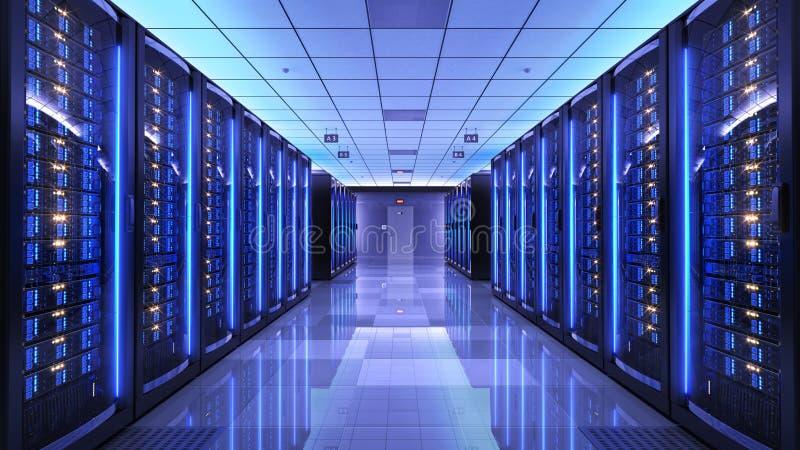 Ράφια κεντρικών υπολογιστών στο κέντρο δεδομένων δωματίων κεντρικών υπολογιστών ελεύθερη απεικόνιση δικαιώματος