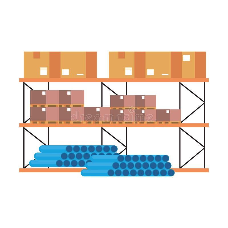 Ράφι αποθηκών εμπορευμάτων με τους σωλήνες και τα εμπορεύματα PVC κιβωτίων ελεύθερη απεικόνιση δικαιώματος