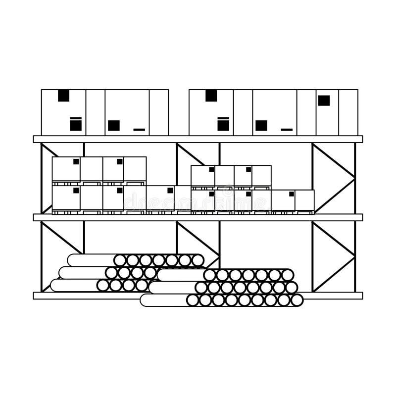Ράφι αποθηκών εμπορευμάτων με τους σωλήνες PVC κιβωτίων και εμπορεύματα σε γραπτό ελεύθερη απεικόνιση δικαιώματος