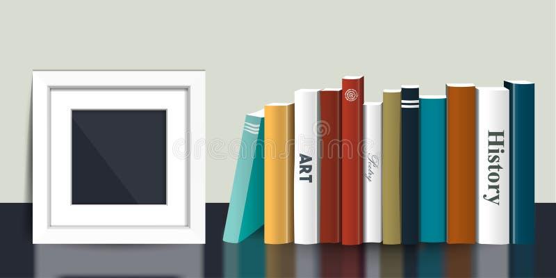 Ράφι βιβλίων με τη χλεύη εικόνων επάνω στο πλαίσιο Ρεαλιστική τρισδιάστατη διανυσματική απεικόνιση Σχέδιο χρώματος ελεύθερη απεικόνιση δικαιώματος