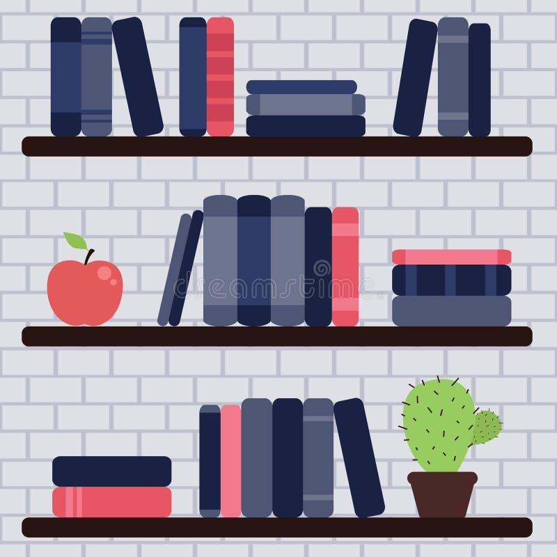 Ράφι βιβλίων στο τουβλότοιχο ελεύθερη απεικόνιση δικαιώματος