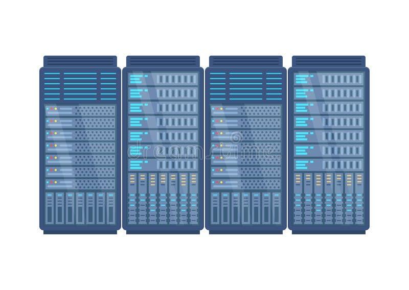 Ράφι κεντρικών υπολογιστών, σταθμός δικτύων, φιλοξενία βάσεων δεδομένων, αποθήκευση, αποθήκευση σύννεφων, διοίκηση διανυσματική απεικόνιση