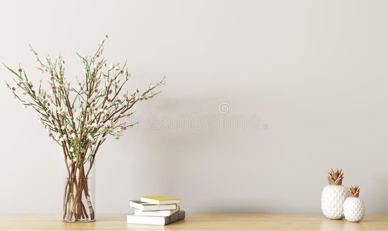Ράφι με την τρισδιάστατη απόδοση κλάδων λουλουδιών απεικόνιση αποθεμάτων