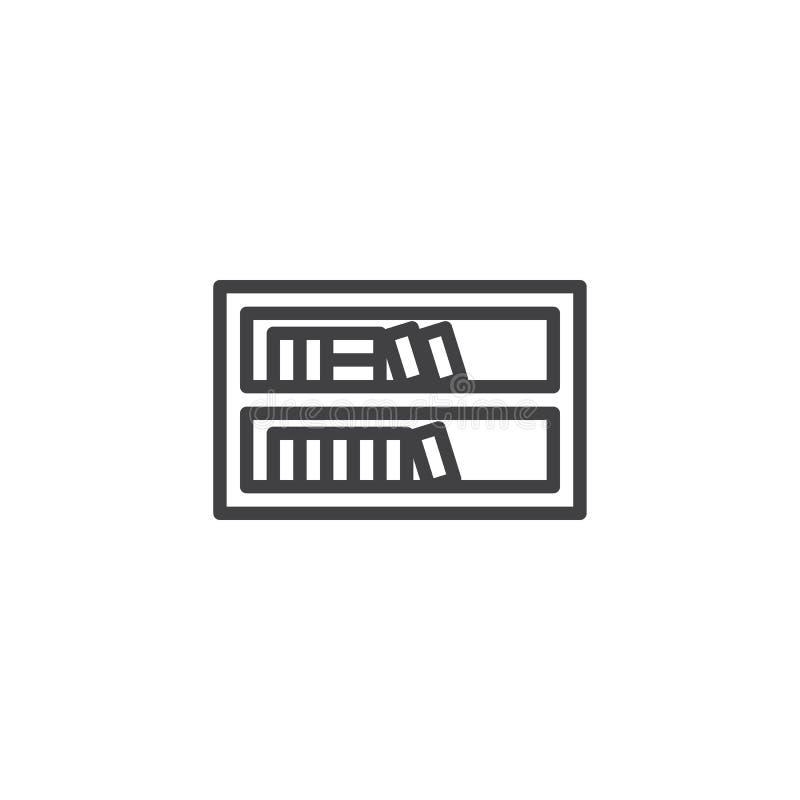 Ράφι με το εικονίδιο γραμμών βιβλίων διανυσματική απεικόνιση