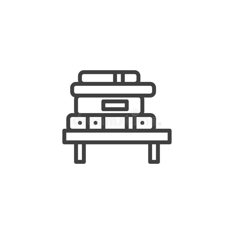 Ράφι με το συσσωρευμένο εικονίδιο γραμμών βιβλίων απεικόνιση αποθεμάτων