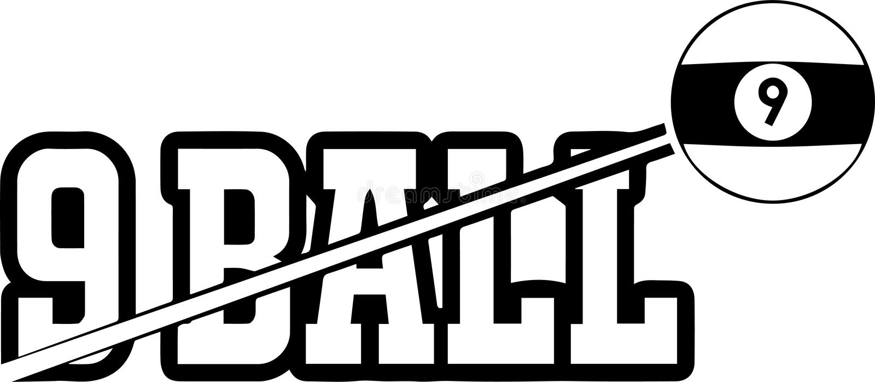 Ράφι οκτώ σφαιρών μπιλιάρδου ραβδί Que ένωσης 8 εννέα 9 σφαιρών αθλητικών λιμνών σνούκερ επιτραπέζιου ανταγωνισμού λογότυπων πρωτ διανυσματική απεικόνιση