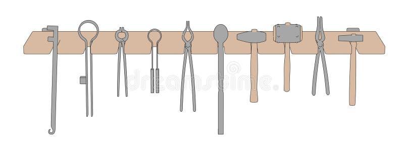 Ράφι σιδηρουργών με τα εργαλεία ελεύθερη απεικόνιση δικαιώματος