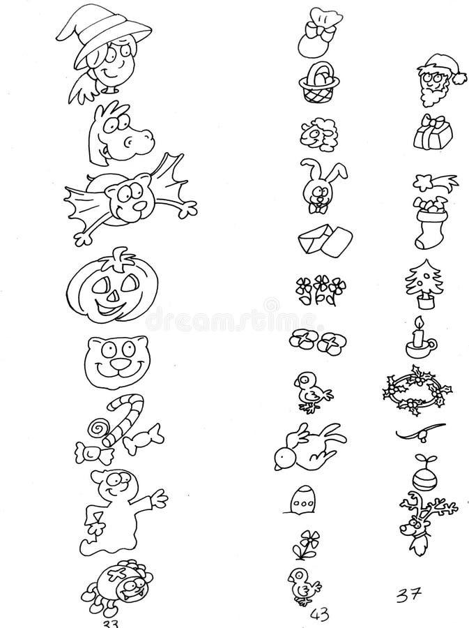 Ράχη εικονιδίων γιορτής που χρωματίζει τα χιουμοριστικά παιδιά για τα βιβλία και να διδάξει διανυσματική απεικόνιση