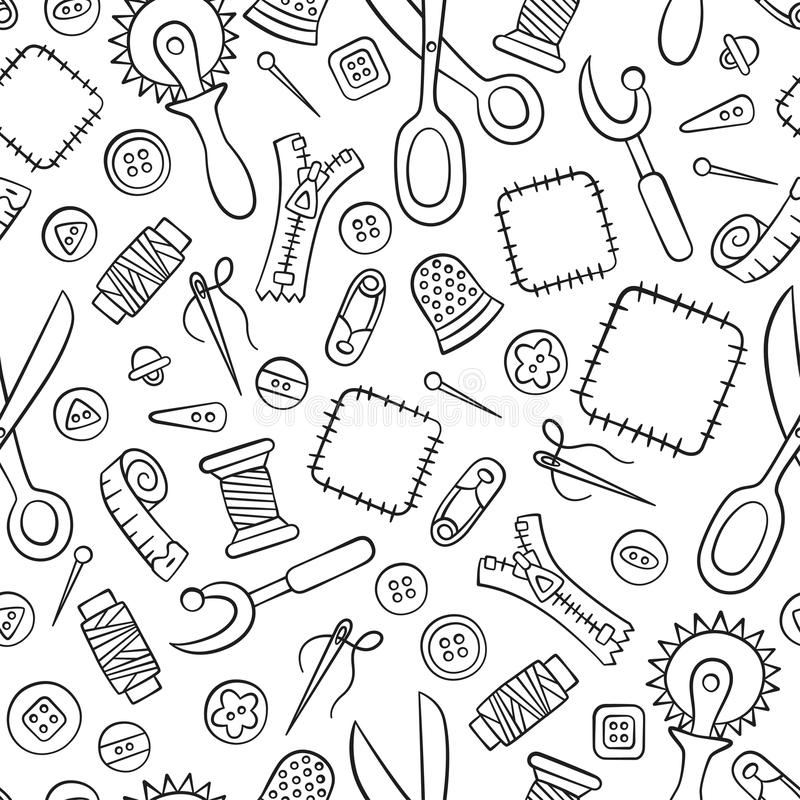 Ράψιμο και ραπτική Εργαλεία και εξαρτήματα Άνευ ραφής σχέδιο στο doodle και το ύφος κινούμενων σχεδίων γραμμικός ελεύθερη απεικόνιση δικαιώματος