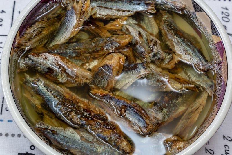 Ρέγγες ή σαρδέλλα ψαριών Shawa που ενυδατώνονται στο βραστό νερό με το άλας στοκ φωτογραφία με δικαίωμα ελεύθερης χρήσης