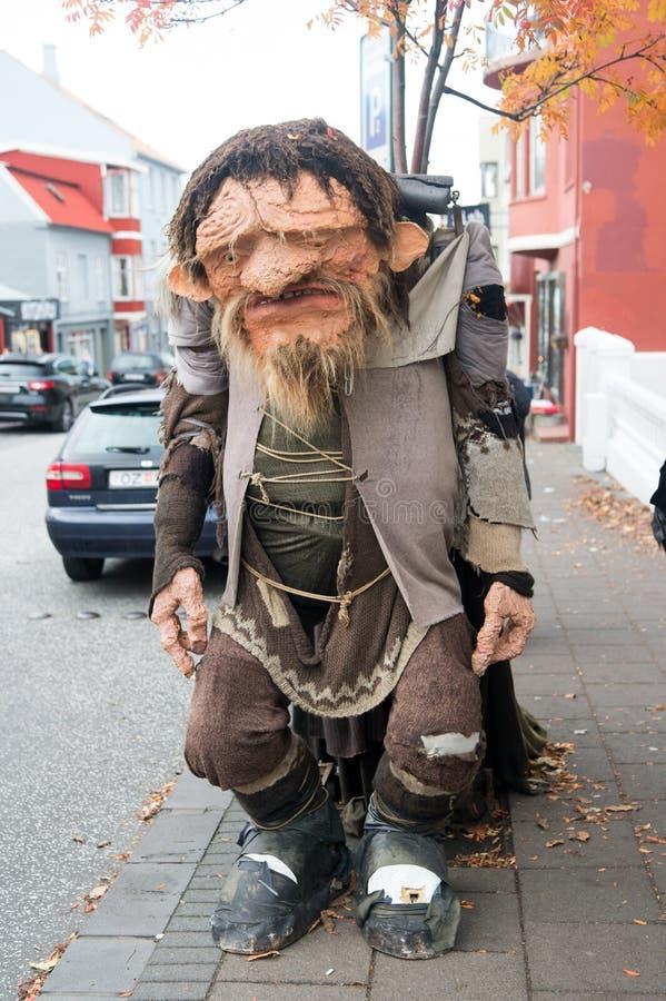 Ρέικιαβικ, Ισλανδία - 12 Οκτωβρίου 2017: αστείος troll αριθμός για την οδό Άσχημος troll αριθμός Αστείος και άσχημος συγχρόνως στοκ φωτογραφίες με δικαίωμα ελεύθερης χρήσης