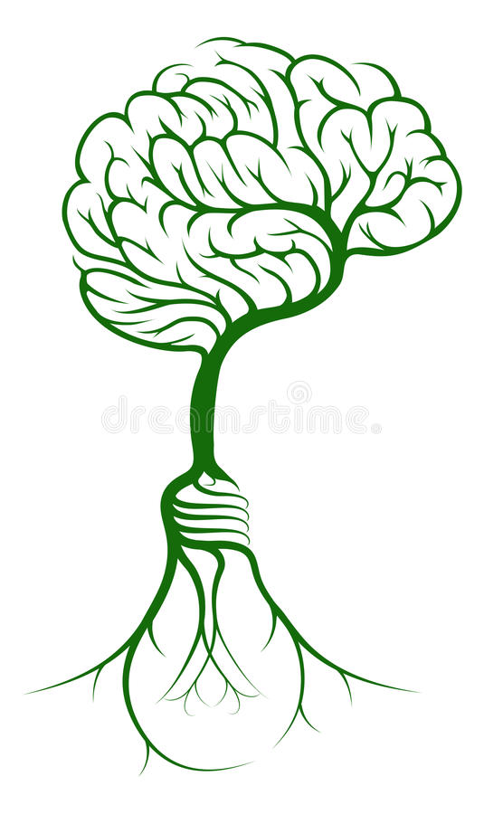 Ρίζες δέντρων εγκεφάλου lightbulb διανυσματική απεικόνιση