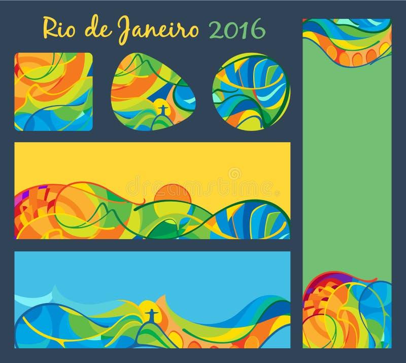 Ρίο 2016 - εμβλήματα και κουμπιά καθορισμένα, διανυσματικό πρότυπο απεικόνιση αποθεμάτων