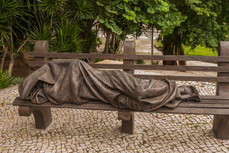 Ρίο ντε Τζανέιρο, Βραζιλία: Γλυπτό του Ιησούς Χριστού στον πάγκο Μητροπολιτικός καθεδρικός ναός Αγίου Sebastian, Βραζιλία στοκ εικόνες με δικαίωμα ελεύθερης χρήσης