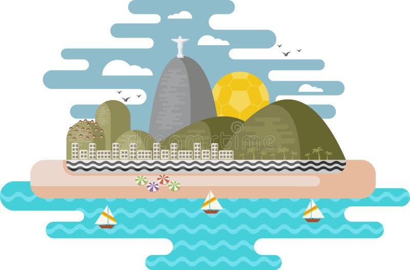 Ρίο ντε Τζανέιρο, Βραζιλία διανυσματική απεικόνιση