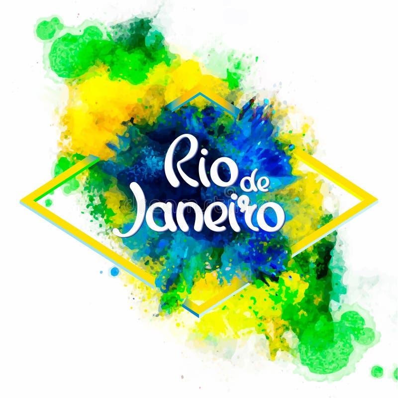Ρίο ντε Τζανέιρο επιγραφής στους λεκέδες watercolor υποβάθρου απεικόνιση αποθεμάτων