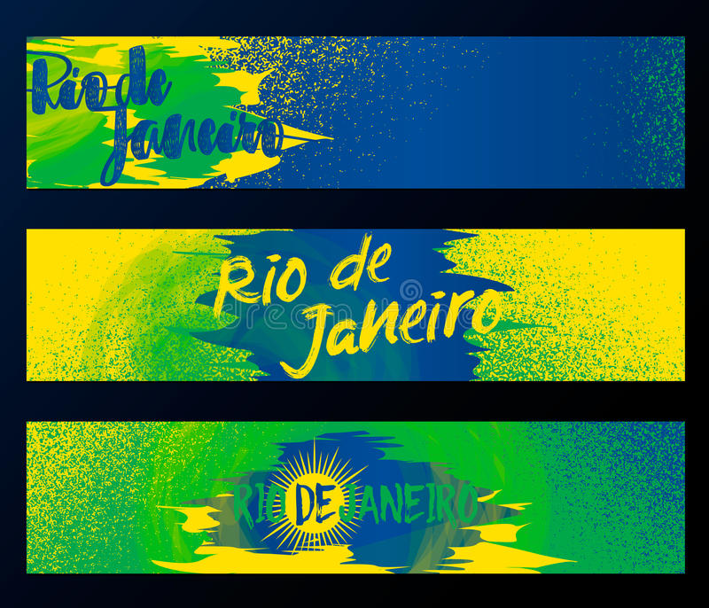 Ρίο ντε Τζανέιρο 2016, οριζόντια εμβλήματα, σύνολο προτύπων αφισών που απομονώνεται στο μαύρο υπόβαθρο με το λάστιχο, κηλίδες λεκ ελεύθερη απεικόνιση δικαιώματος