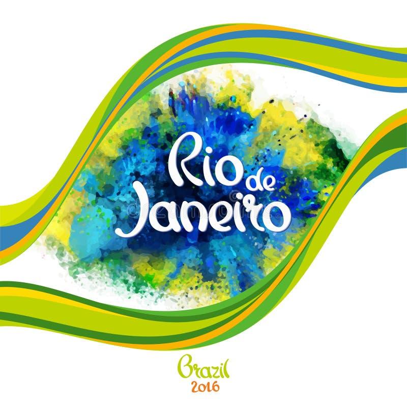 Ρίο ντε Τζανέιρο στους λεκέδες ενός υποβάθρου watercolor διανυσματική απεικόνιση