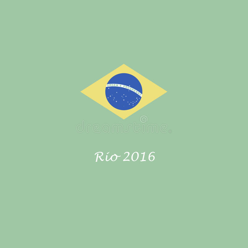 Ρίο ντε Τζανέιρο της Βραζιλίας σημαία 2016 θερινών Ολυμπιακών Αγωνών γραφική απεικόνιση αποθεμάτων