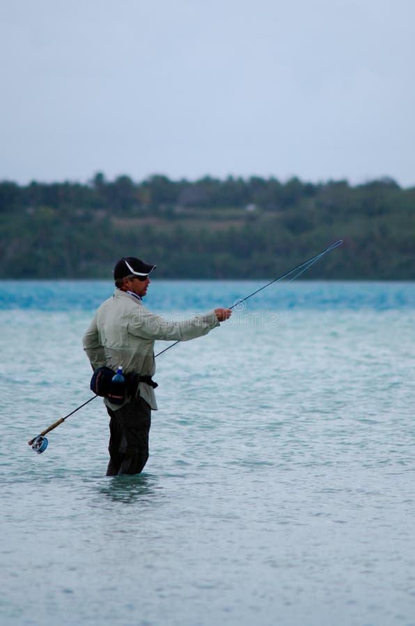 Ρίψη για το bonefish στις νήσους Κουκ λιμνοθαλασσών Aitutaki στοκ φωτογραφίες με δικαίωμα ελεύθερης χρήσης