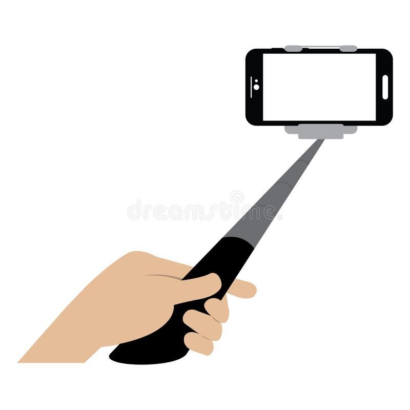 Ραβδί Selfie με το κινητό τηλέφωνο ελεύθερη απεικόνιση δικαιώματος