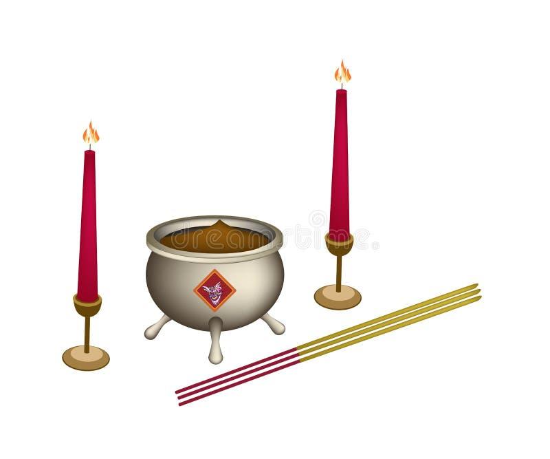 Ραβδί κεριών και κινέζικων ειδώλων με τον καυστήρα θυμιάματος διανυσματική απεικόνιση