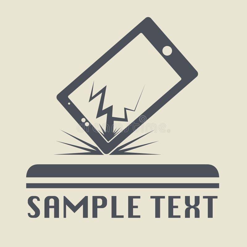 Ραγισμένη τηλέφωνο ή ταμπλέτα επίπεδο εικονίδιο ή σημάδι απεικόνιση αποθεμάτων