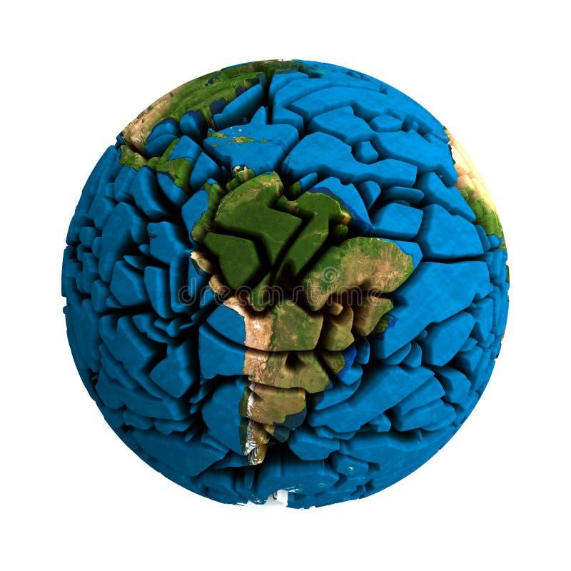 Ραγισμένος σπασμένος γη τρισδιάστατος πλανήτης σφαιρών ελεύθερη απεικόνιση δικαιώματος
