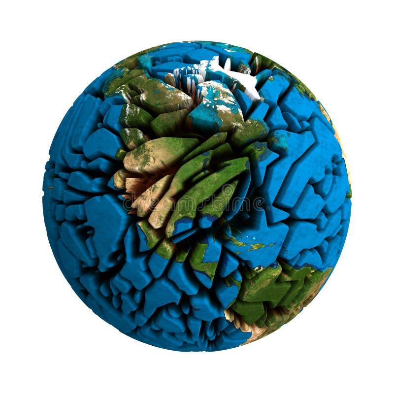 Ραγισμένος σπασμένος γη τρισδιάστατος πλανήτης σφαιρών διανυσματική απεικόνιση