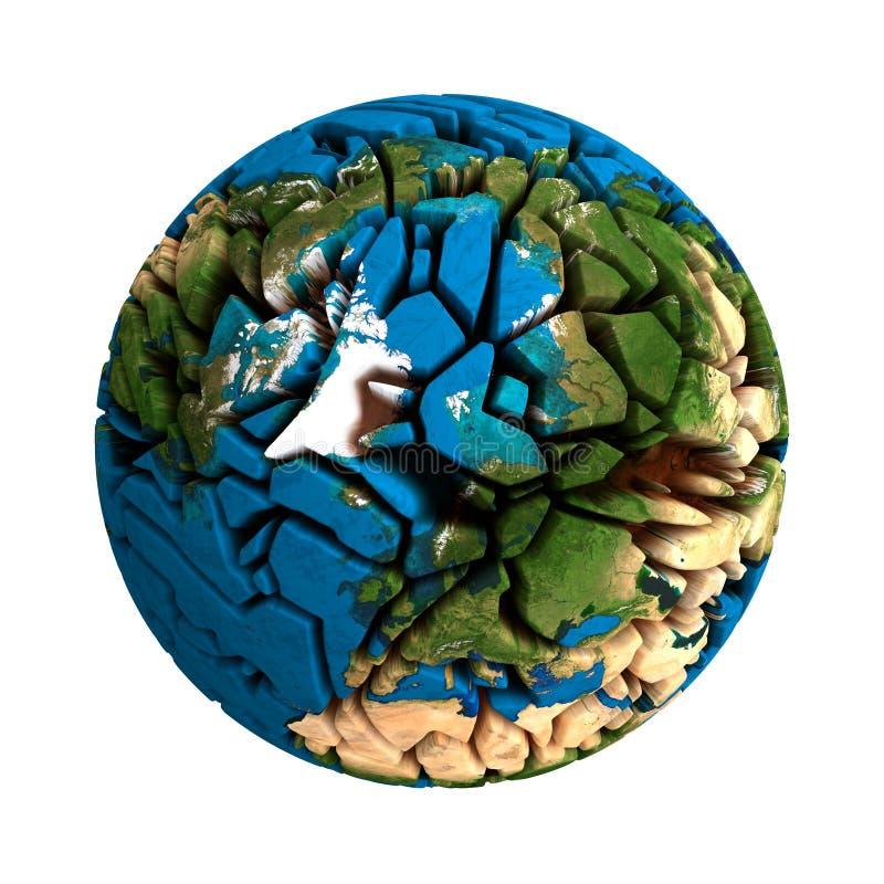 Ραγισμένος σπασμένος γη τρισδιάστατος πλανήτης σφαιρών απεικόνιση αποθεμάτων