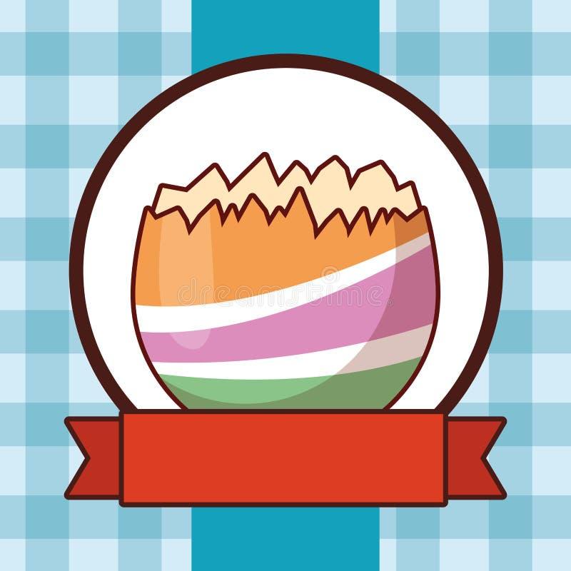 Ραγισμένο ζωηρόχρωμο ελεγμένο υπόβαθρο αυγών Πάσχας γύρω από το έμβλημα κορδελλών πλαισίων ελεύθερη απεικόνιση δικαιώματος