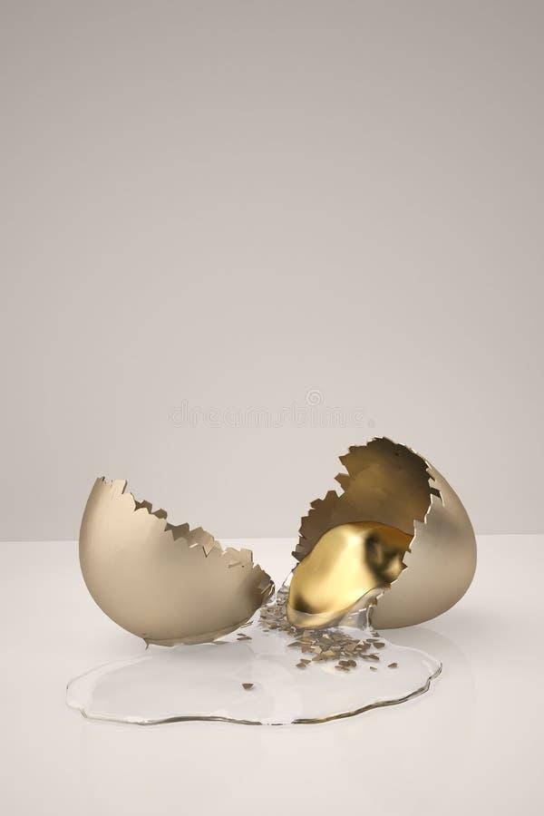 Ραγισμένο χρυσό αυγό με το λέκιθο τρισδιάστατη απεικόνιση διανυσματική απεικόνιση