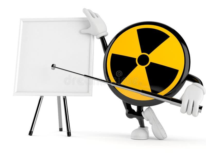 Ραδιενεργός χαρακτήρας με το κενό whiteboard απεικόνιση αποθεμάτων