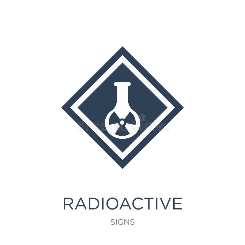 ραδιενεργό εικονίδιο στοιχείων στο καθιερώνον τη μόδα ύφος σχεδίου ραδιενεργό εικονίδιο στοιχείων που απομονώνεται στο άσπρο υπόβ ελεύθερη απεικόνιση δικαιώματος