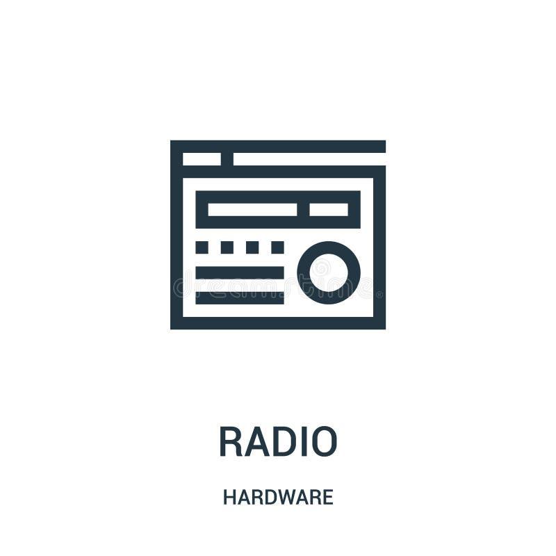 ραδιο διάνυσμα εικονιδίων από τη συλλογή υλικού Λεπτή διανυσματική απεικόνιση εικονιδίων περιλήψεων γραμμών ραδιο ελεύθερη απεικόνιση δικαιώματος