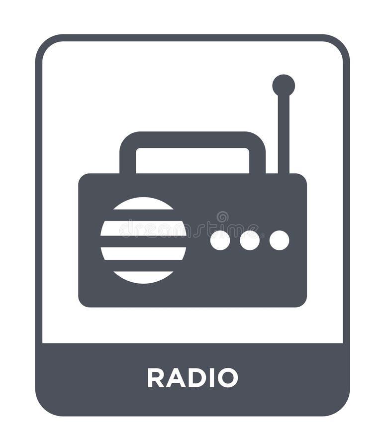 ραδιο εικονίδιο στο καθιερώνον τη μόδα ύφος σχεδίου ραδιο εικονίδιο που απομονώνεται στο άσπρο υπόβαθρο ραδιο διανυσματικό απλό κ απεικόνιση αποθεμάτων