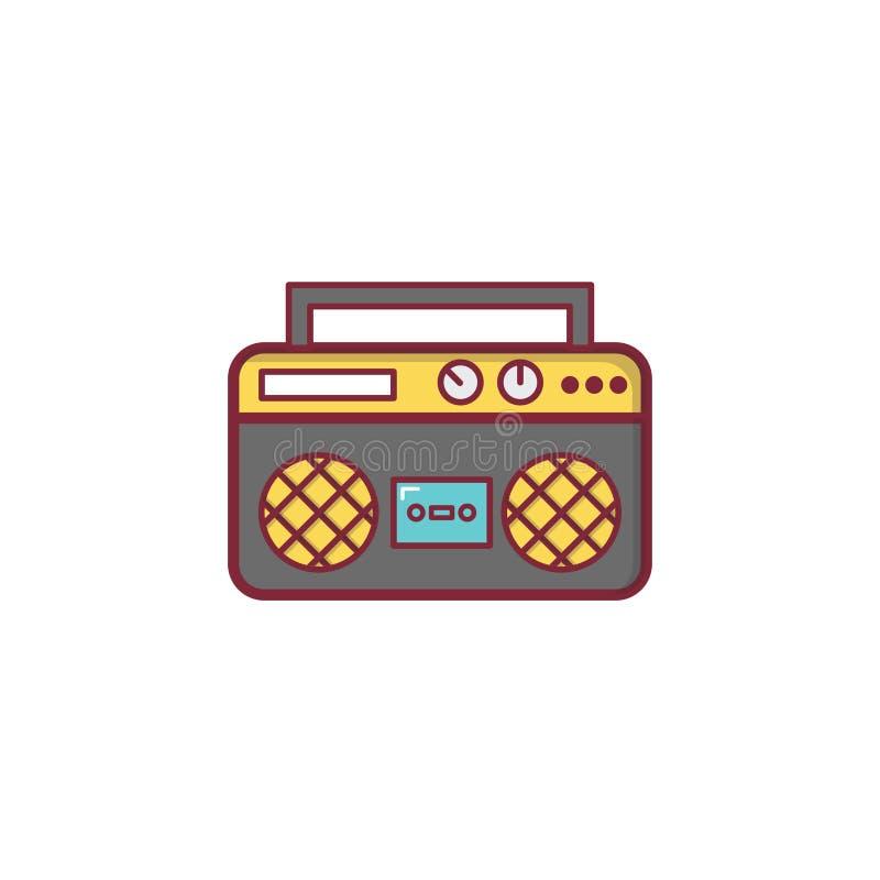 Ραδιο σχέδιο στοιχείων απεικόνισης εικονιδίων μουσικής επίπεδο στοκ φωτογραφία