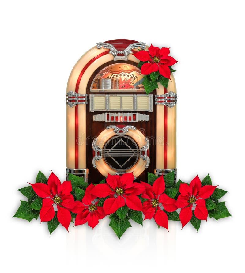 Ραδιόφωνο Jukebox με την κόκκινη διακόσμηση Χριστουγέννων λουλουδιών Poinsettia στοκ εικόνες