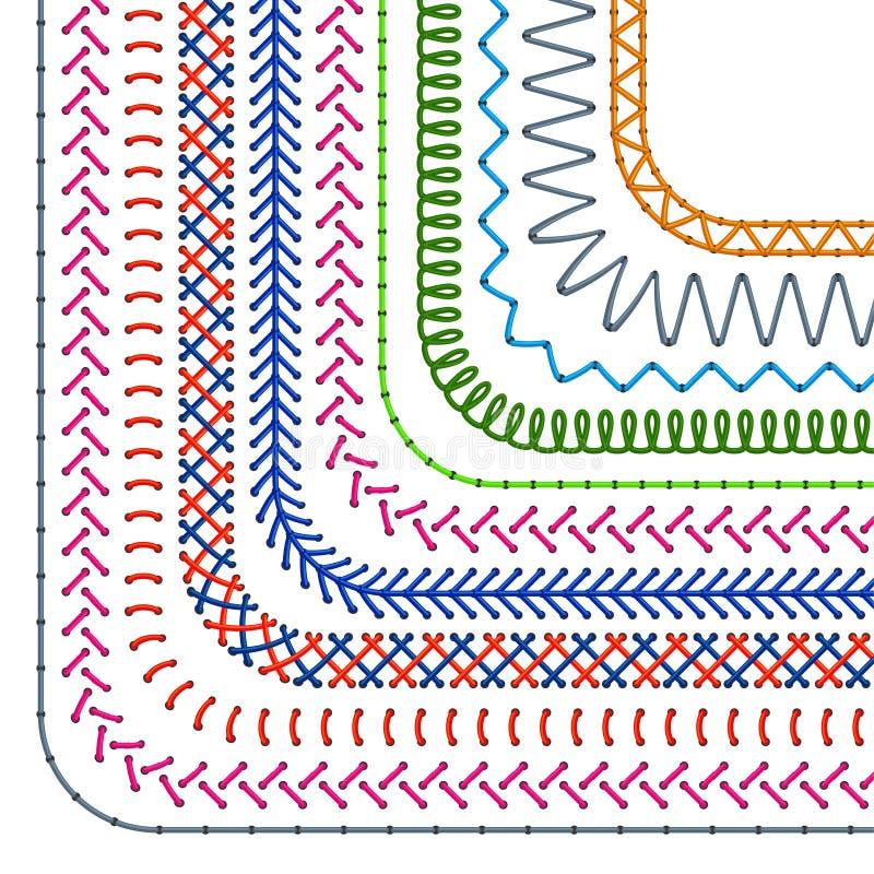 Ραμμένες βούρτσες σχεδίων Άνευ ραφής διανυσματικό σύνολο συνόρων ραφών και διαιρετών ραψίματος απεικόνιση αποθεμάτων